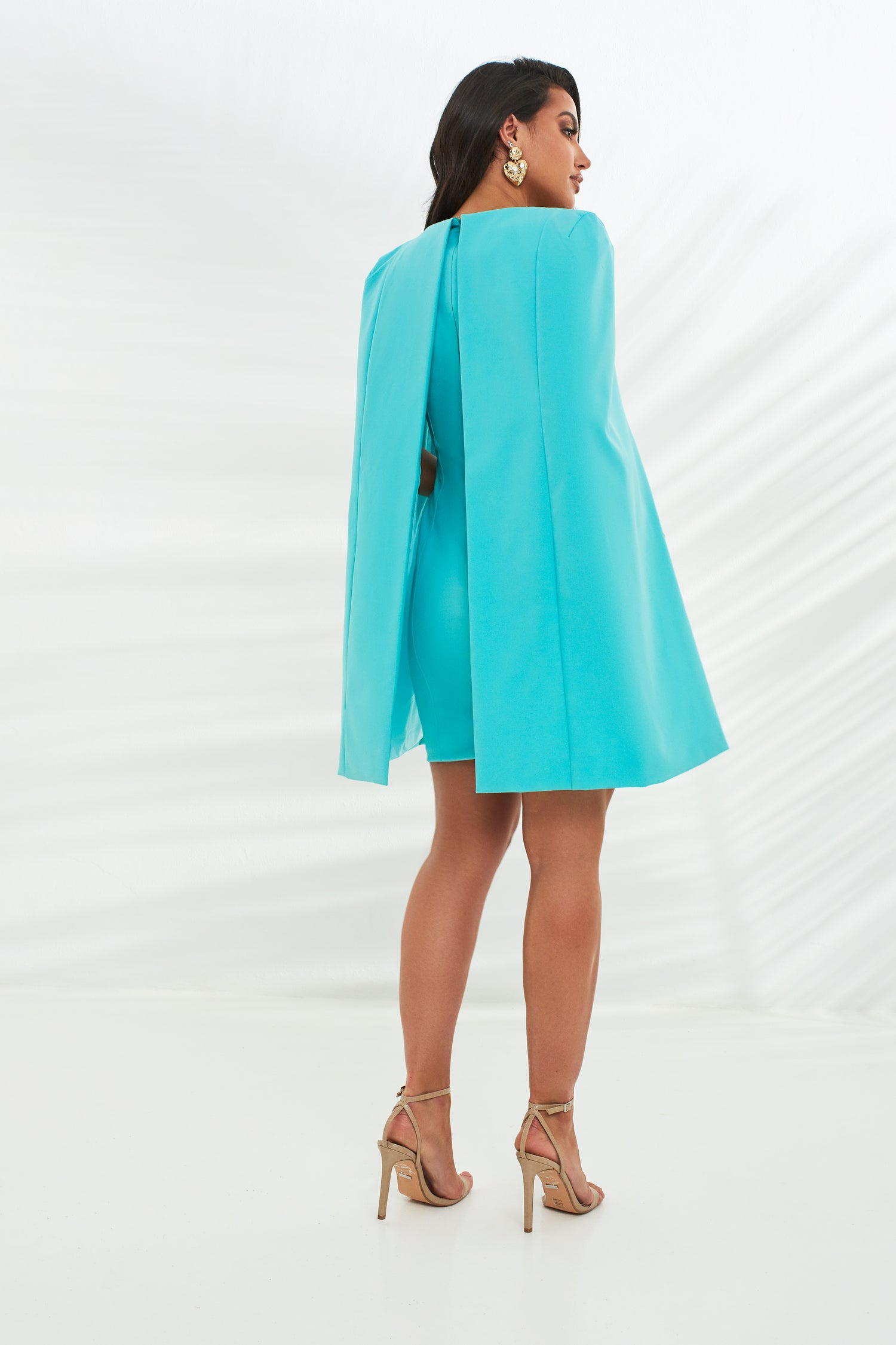 Underwired Cape Mini Dress in Aqua