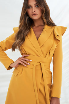 Ruffle Shoulder Obi Belt Mini Blazer Dress in Turmeric