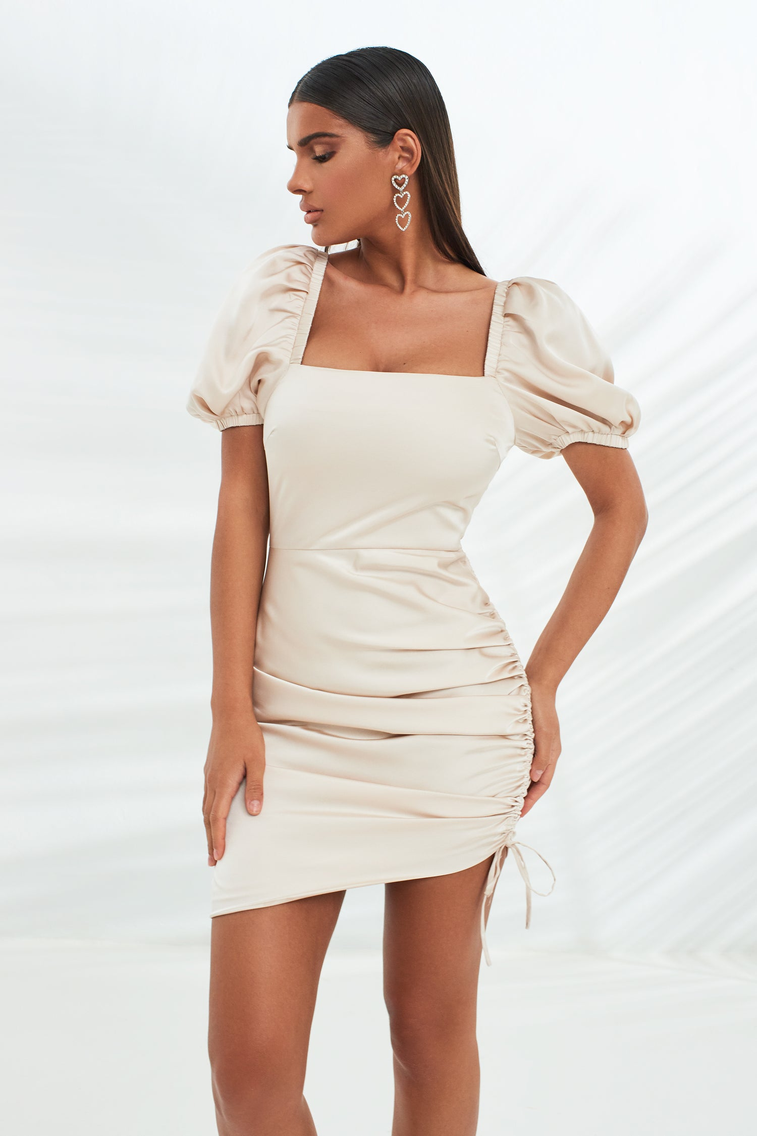 Short Puff Sleeve Ruched Mini Satin Dress in Stone