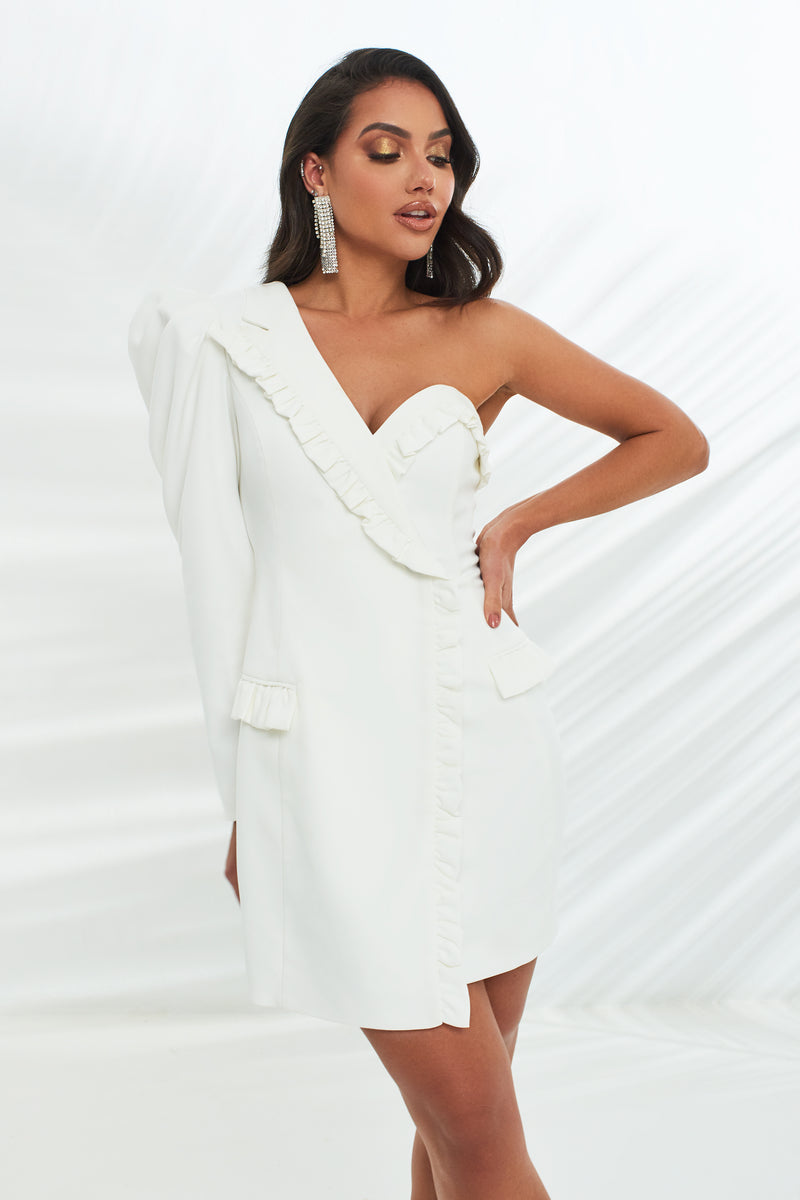 Micro Ruffle Detail Tailored Dress in White