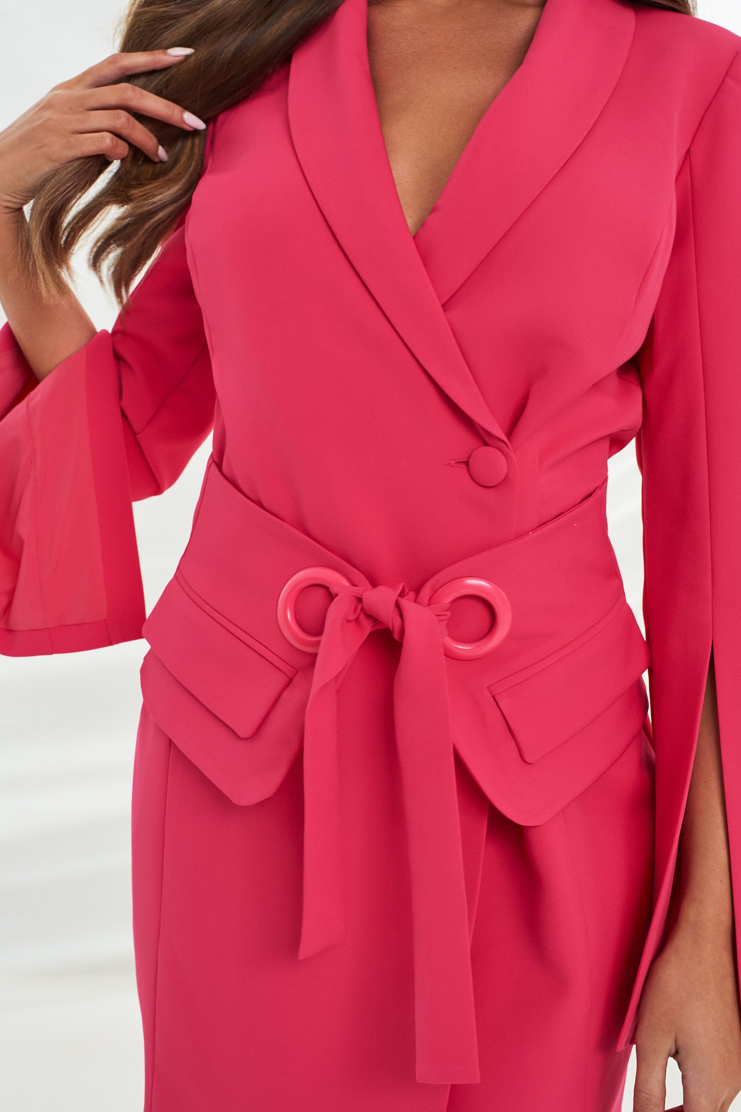 Utility Eyelet Belt Tailored Dress in Bright Pink