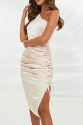 Satin One Shoulder Ruched Side Midi Dress in Stone