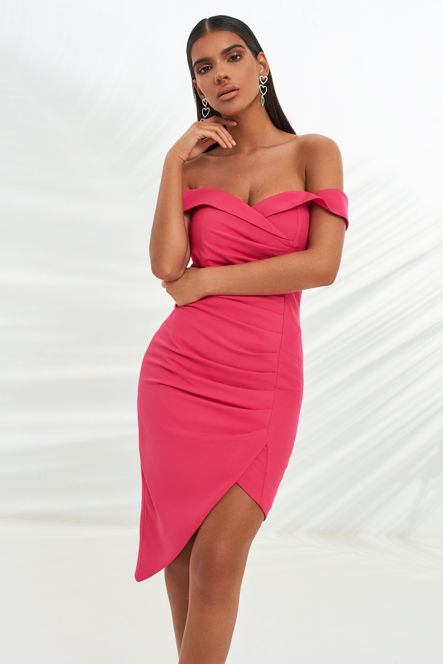 Bardot Pleated Asymmetric Midi Dress in Bright Pink