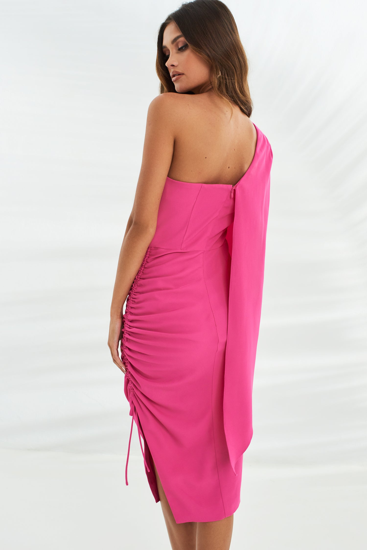 Ruched Side Cape Midi Dress in Bright Pink
