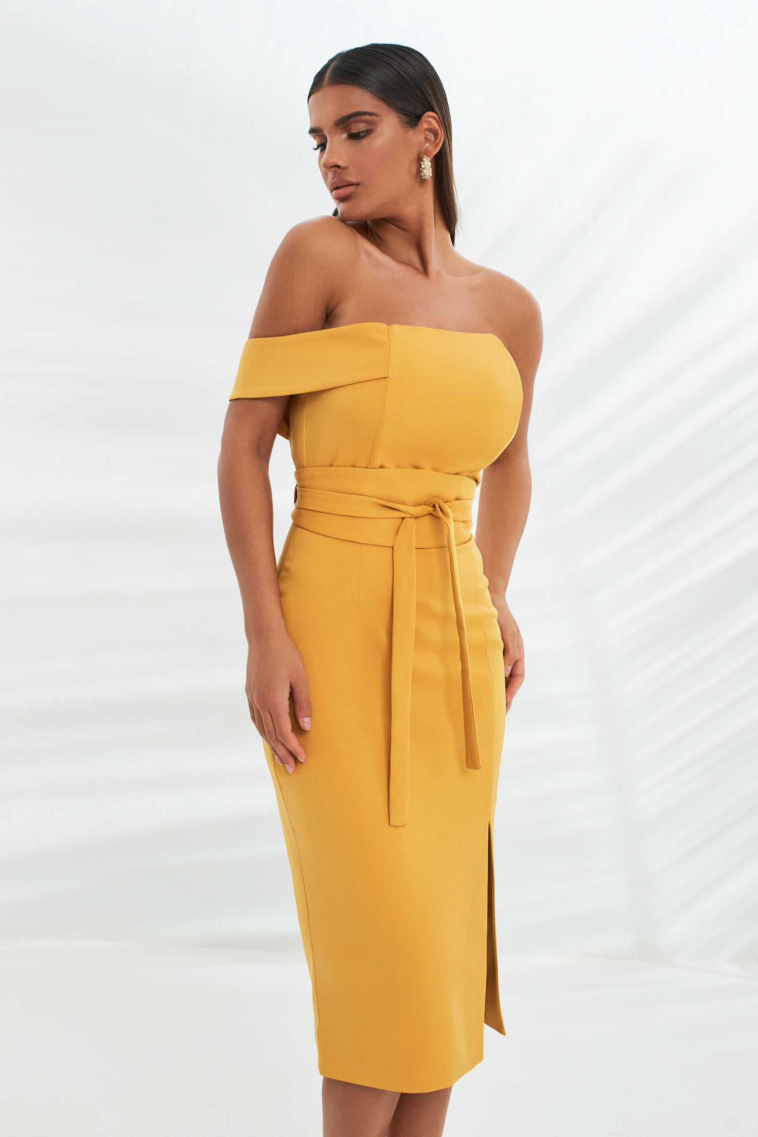 High Apex Bandeau Mid Dress With Obi Belt in Turmeric