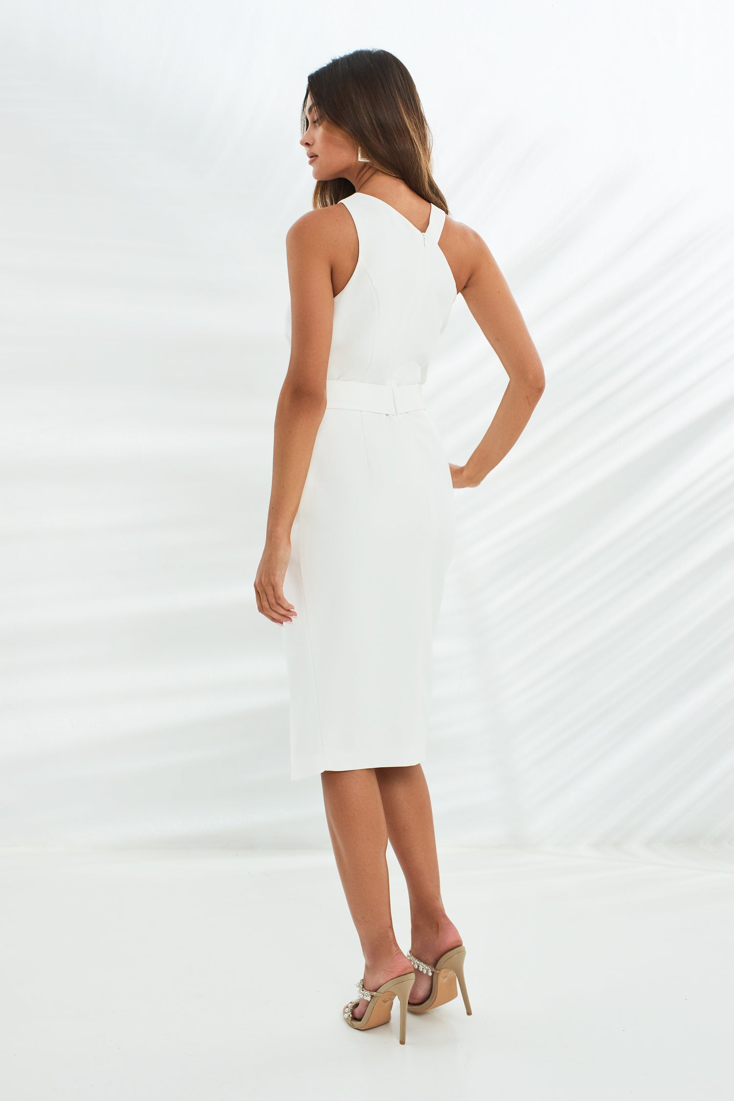 Halter Neck Wrap Midi Dress With Buckles in White