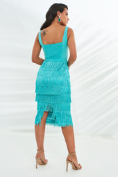 Underwired Fringe Midi Dress in Aqua
