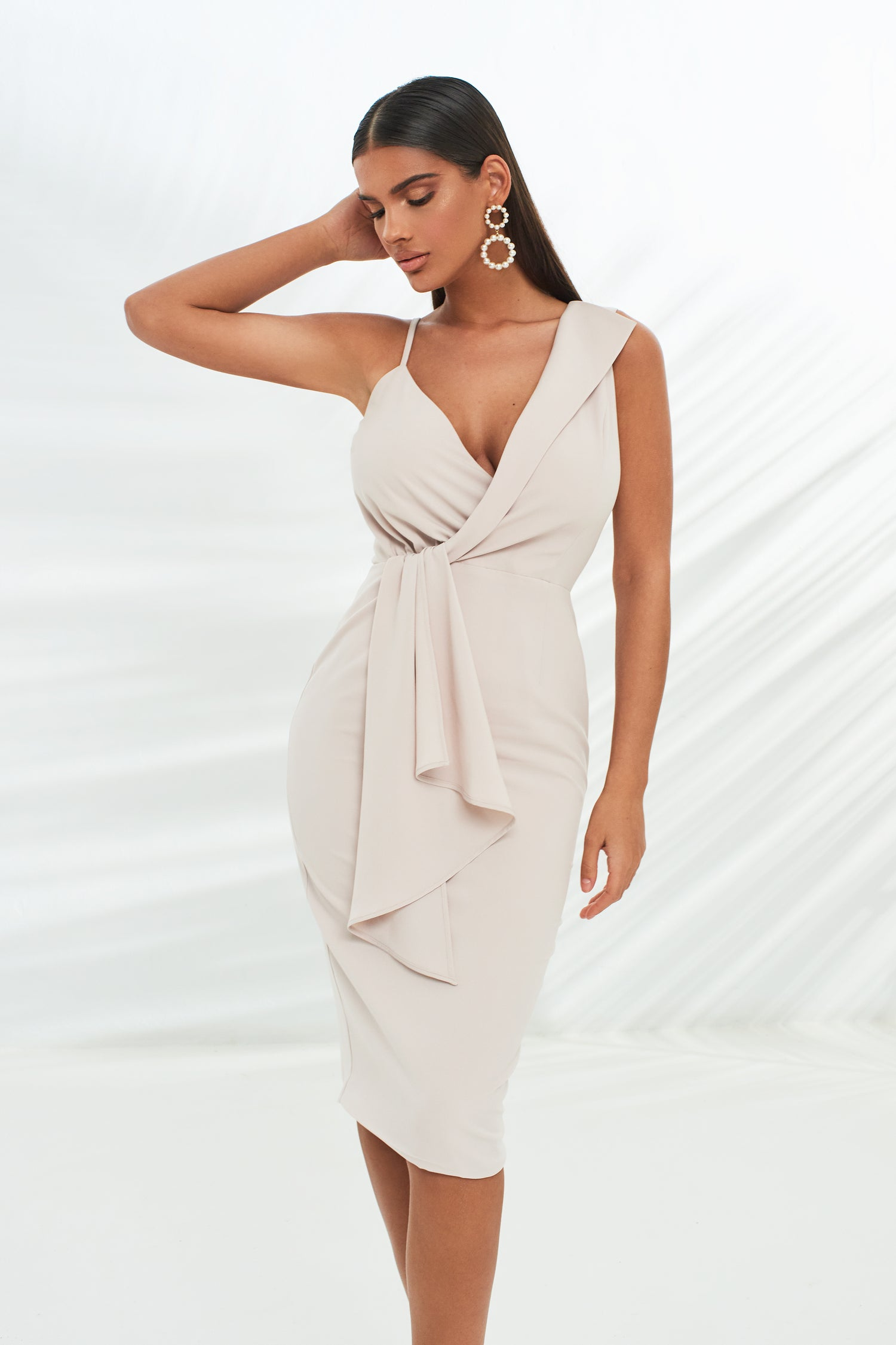 Folded Lapel Wrap Midi Dress With Drape Panel in Stone