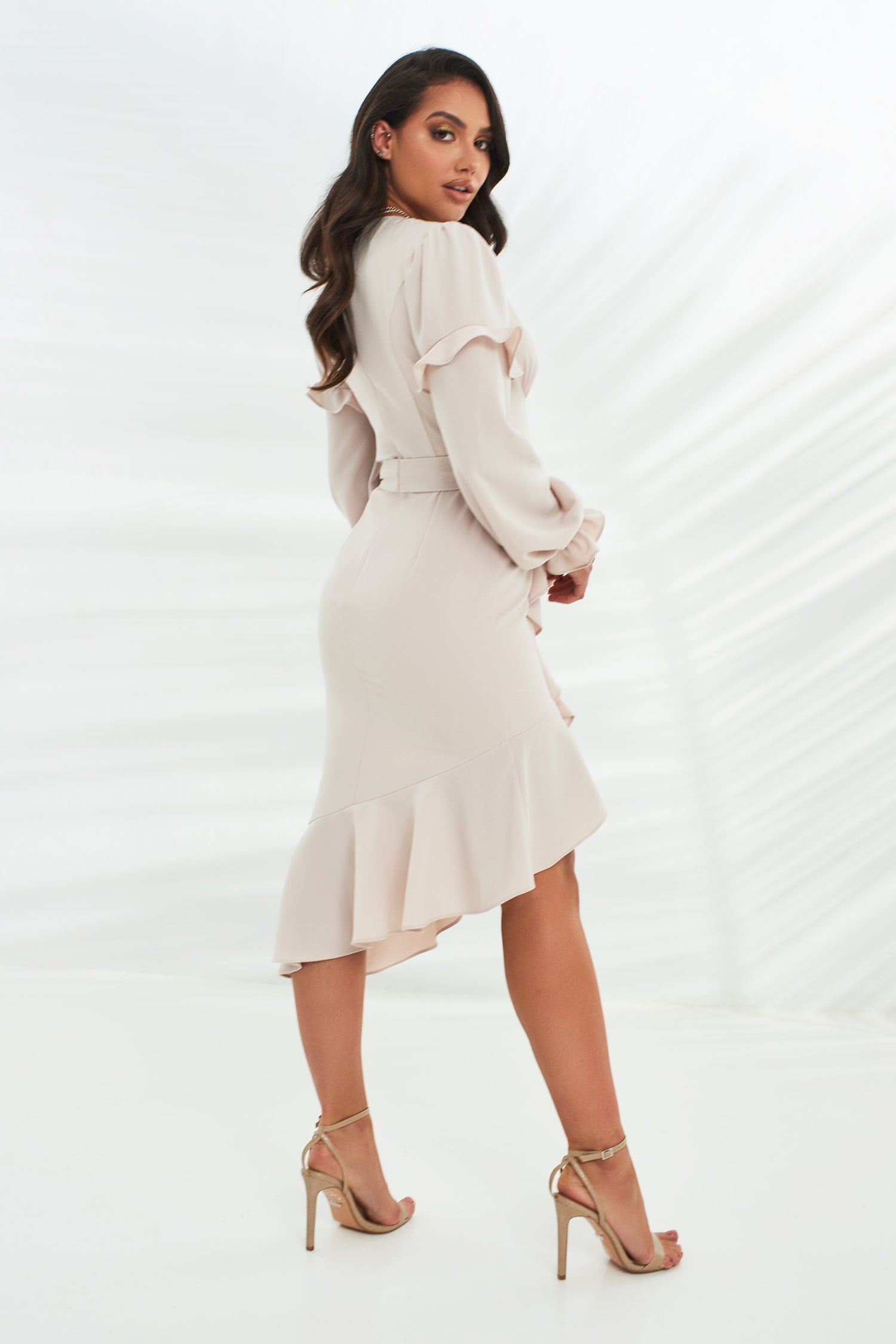 Ruffle Wrap Dress With Frill Balloon Sleeve in Stone