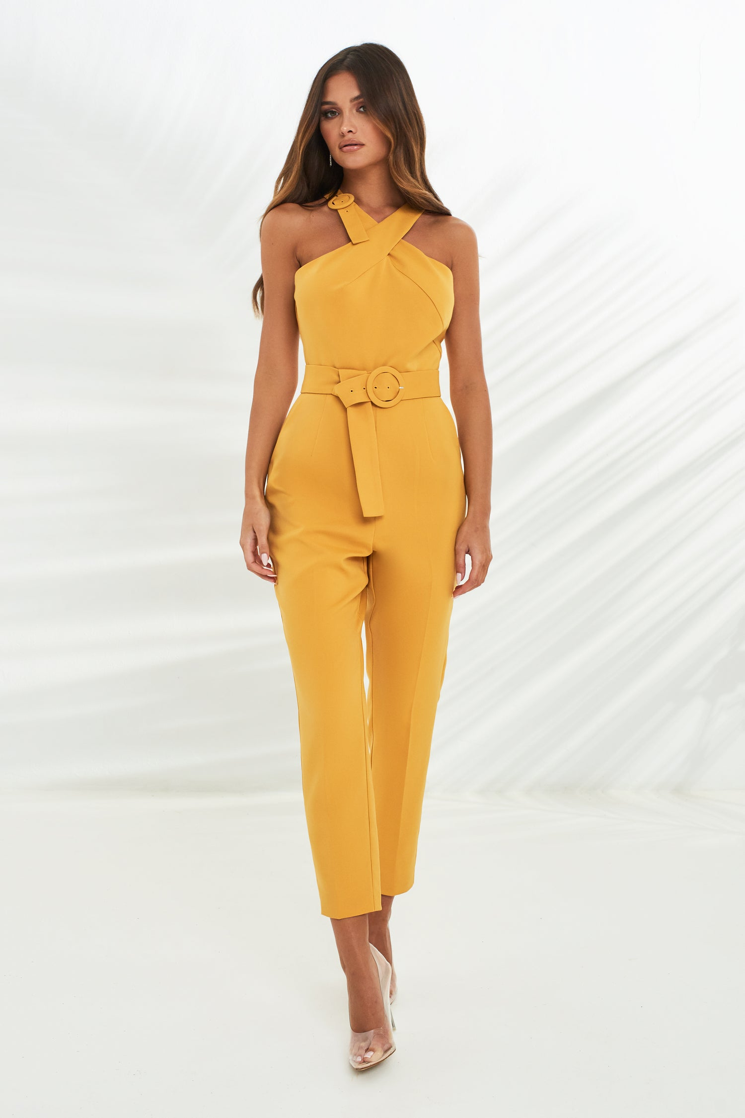 Halter Neck Wrap Jumpsuit With Buckles in Turmeric