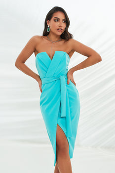 Straight Bandeau Midi Dress in Aqua
