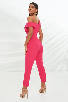 Double Layer Off The Shoulder Jumpsuit in Pink