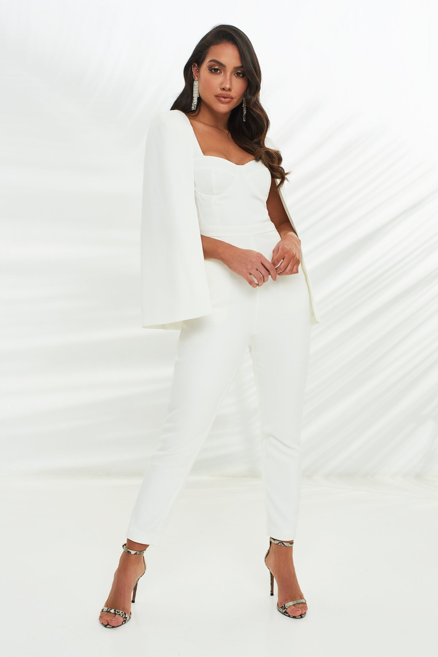 Underwired Cape Jumpsuit in White