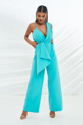 Folded Lapel Wrap Straight Leg Jumpsuit in Aqua