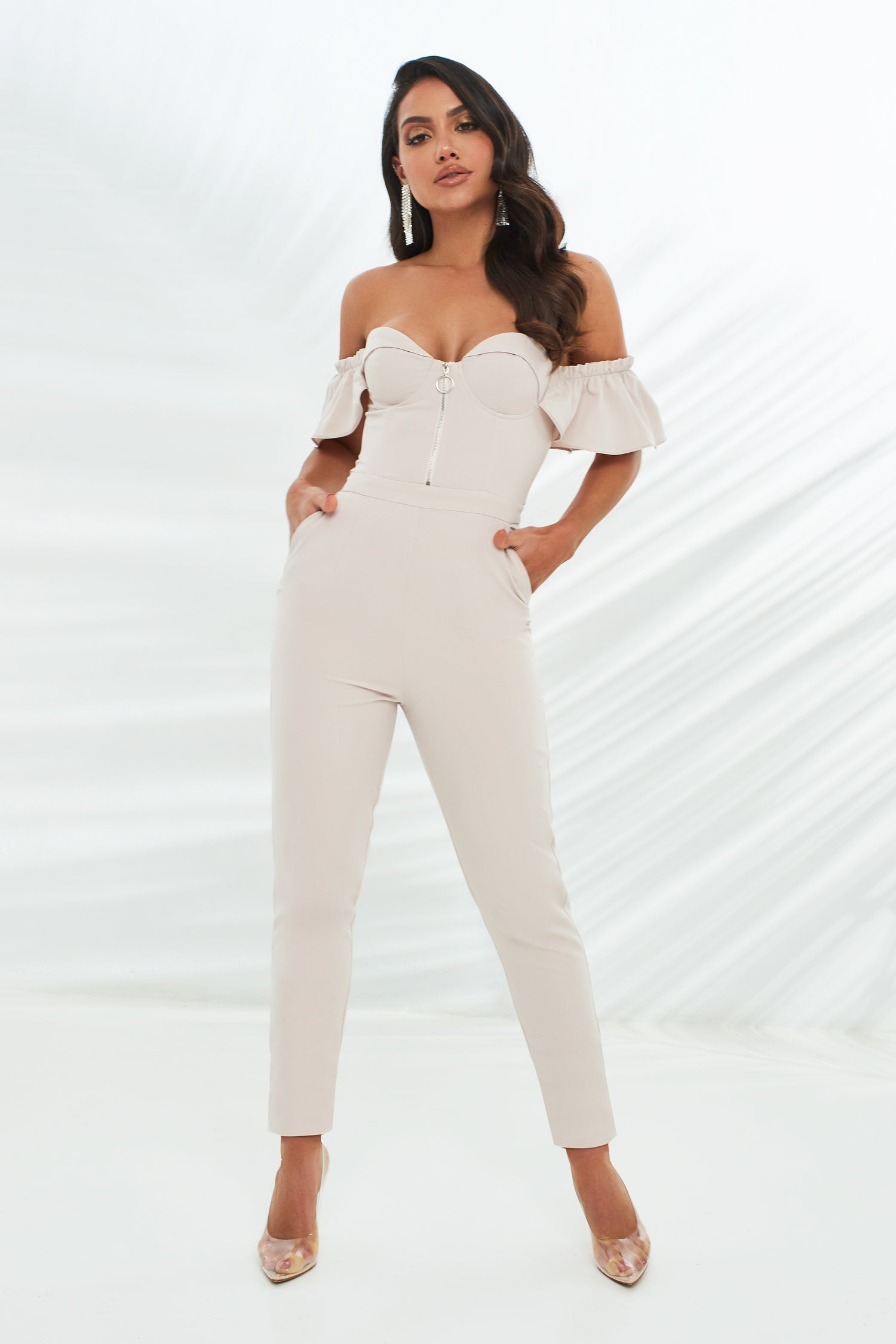 Zip Front Off Shoulder Frill Sleeve Jumpsuit in Stone