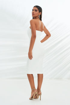 Corset Midi Dress in White