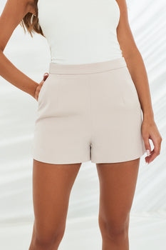 Classic High Waisted Shorts in Stone