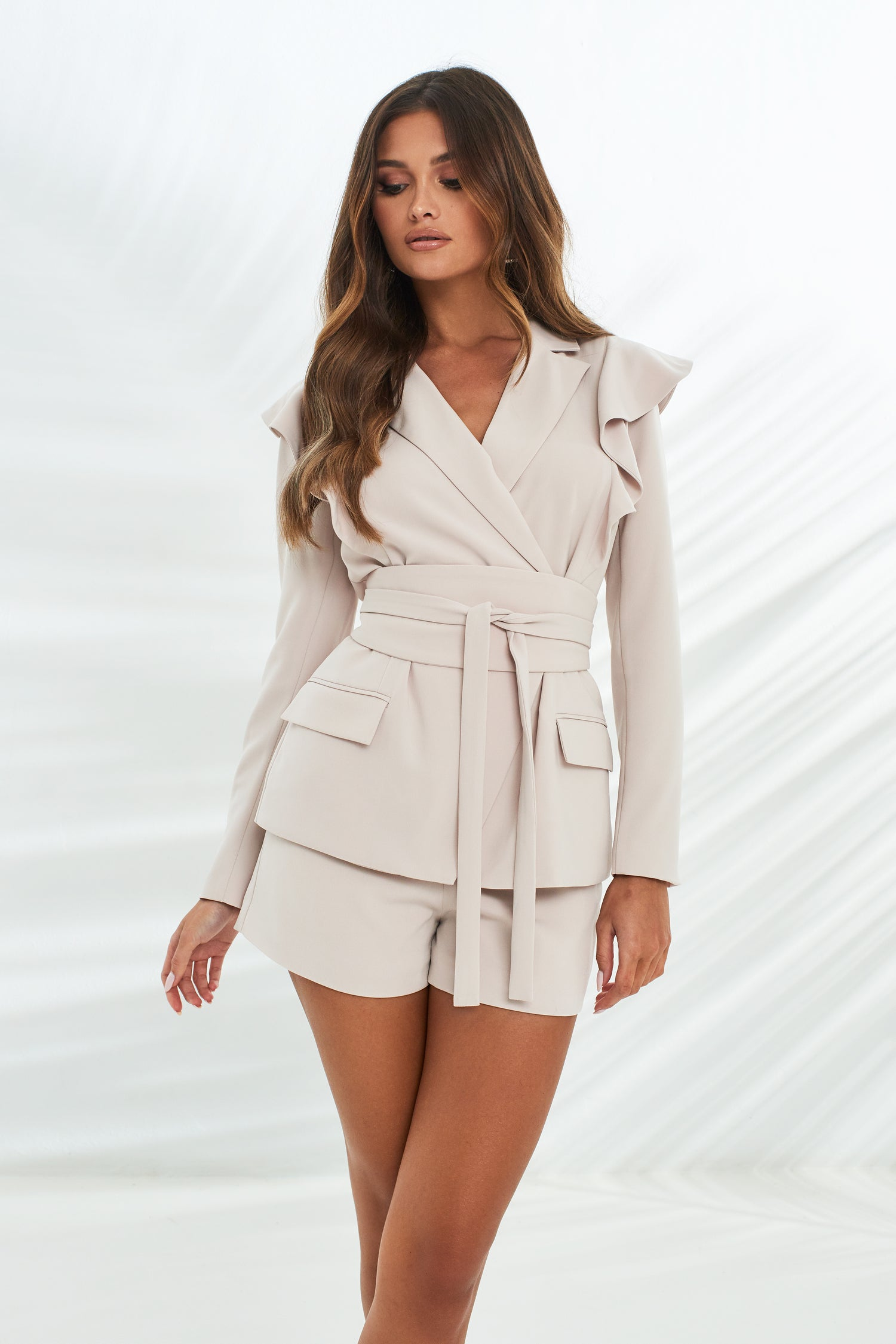 Ruffle Shoulder Obi Belt Blazer in Stone
