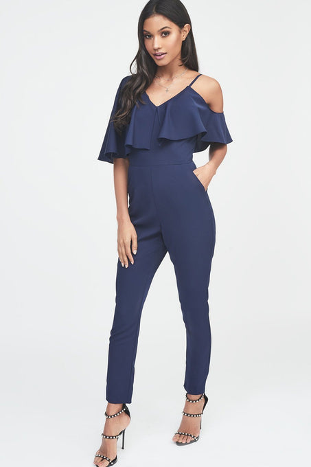 Asymmetric Off The Shoulder Tapered Jumpsuit in Navy