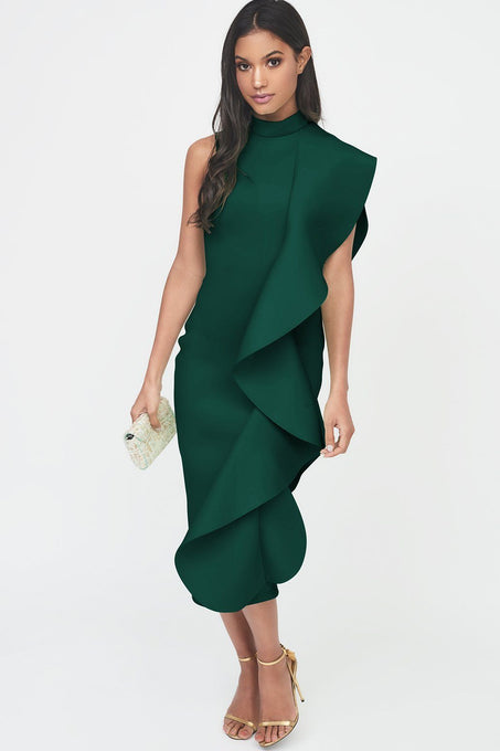 Green Signature Multi Scuba Frill Midi Dress