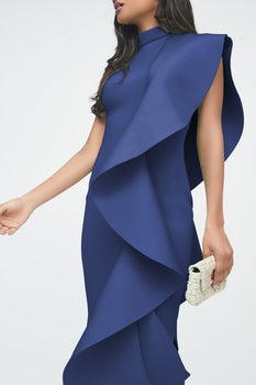 Blue Signature Multi Scuba Frill Midi Dress