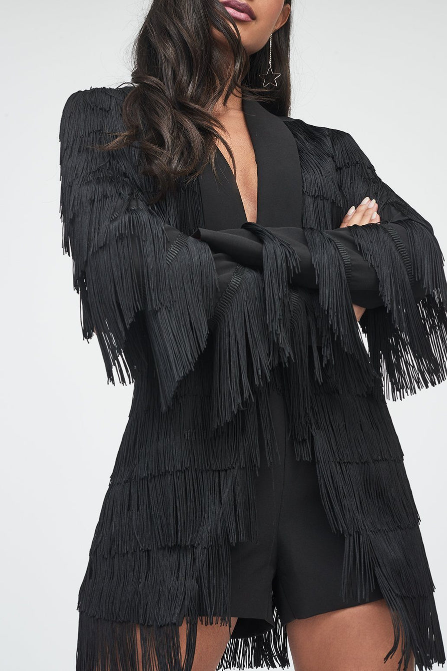 Fringe Blazer Playsuit in Black