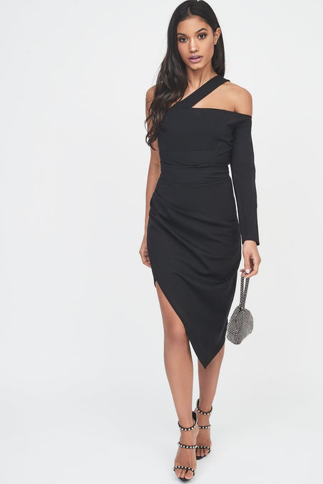 One Sleeve Cut Out Asymmetric Midi Dress