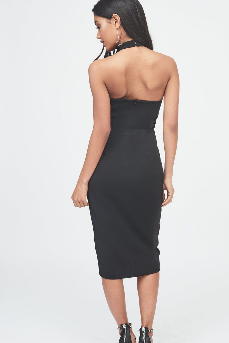 Halterneck Lapel Midi Dress in Black