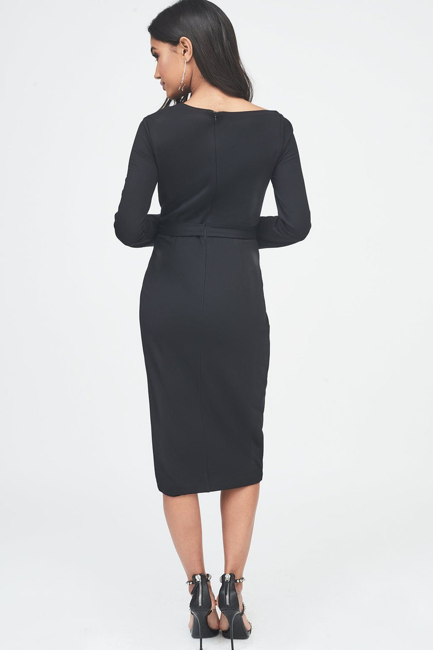 Asymmetric Cut Out Detail Wrap Dress in Black