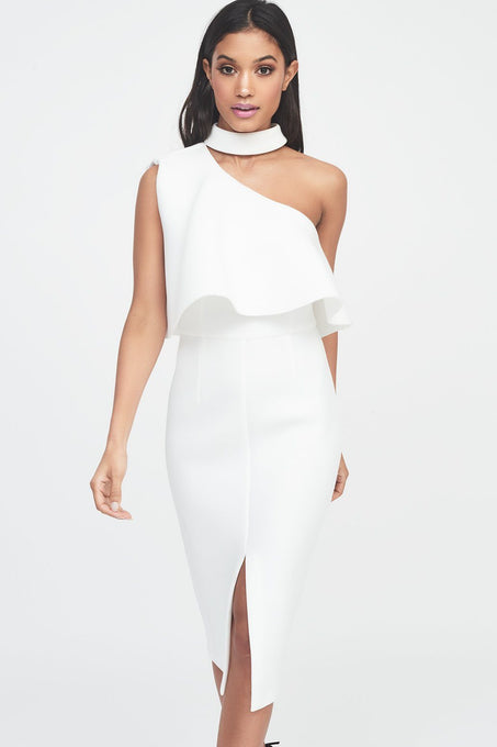 Scuba High Neck One Shoulder Midi Dress in White