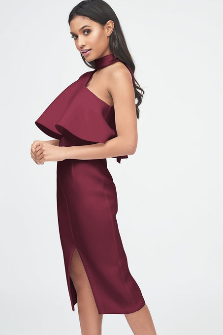 Burgundy Scuba High Neck One Shoulder Midi Dress
