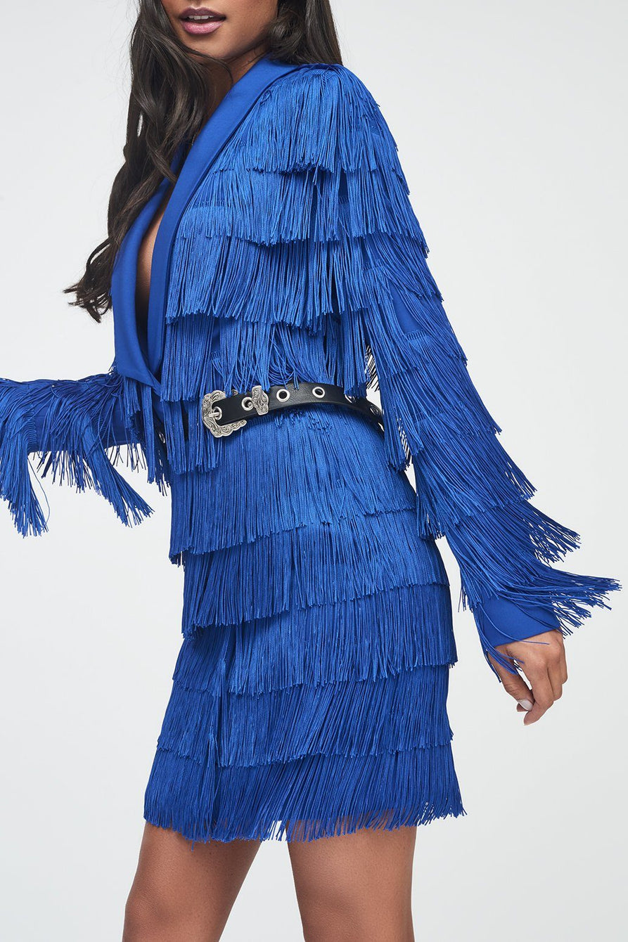 Cobalt Blue Fringe Tailored Blazer Dress
