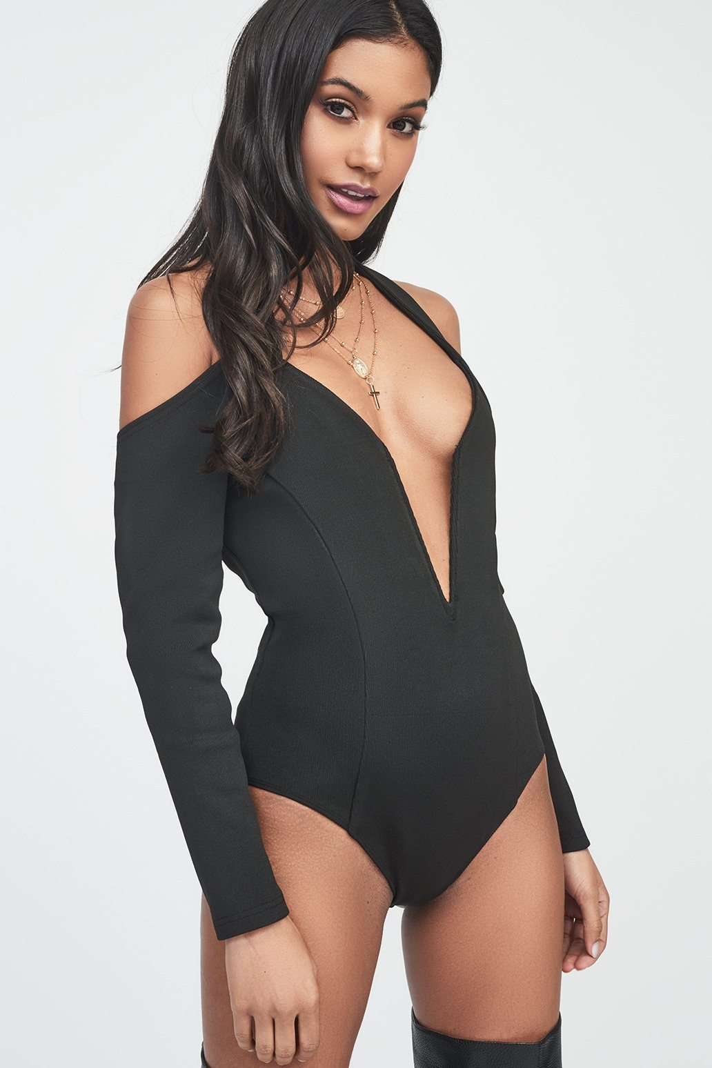 Halterneck Knitted Bodysuit in Black