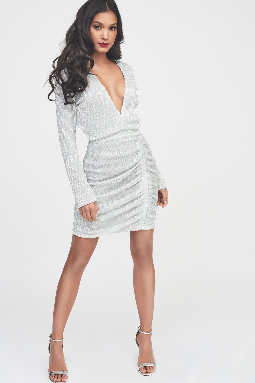 Silver Iridescent Sequin Mini Dress