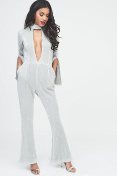 Signature Silver Iridescent Sequin Deep Plunge Jumpsuit