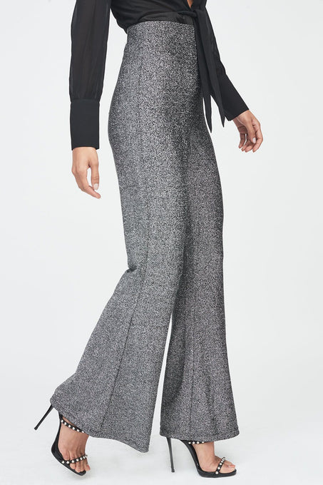 Metallic Knit Flare Trouser