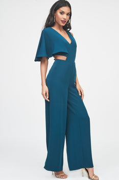 One Sleeve Cutout Wide Leg Jumpsuit in Forest Green