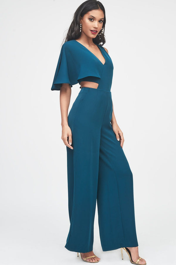 ac28768825d ... One Sleeve Cutout Wide Leg Jumpsuit in Forest Green