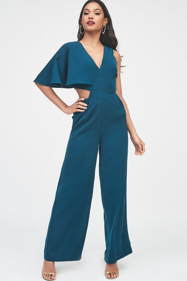 7eeb8f07e98 One Sleeve Cutout Wide Leg Jumpsuit in Forest Green ...