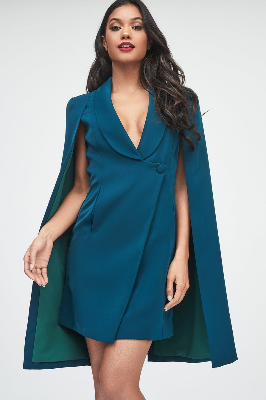 Fitted Tuxedo Cape Mini Dress in Forest Green