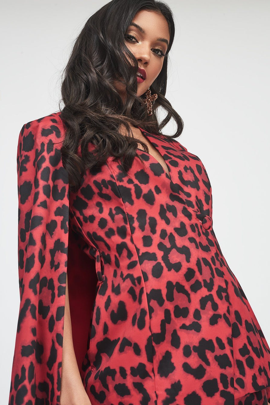 Collarless Cape Blazer in Red Leopard Print