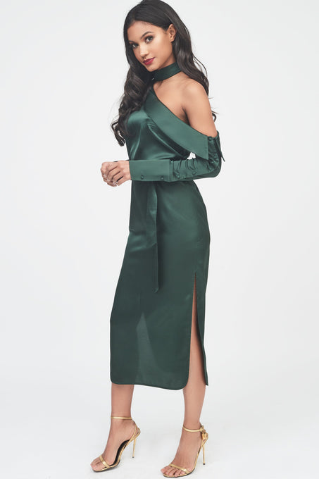 Satin Choker Neck Off The Shoulder Midi Shirt Dress in Forest Green