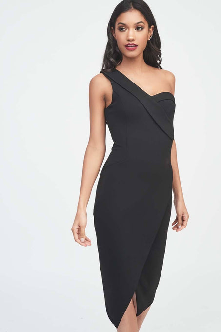 One Shoulder Ponte Midi Dress