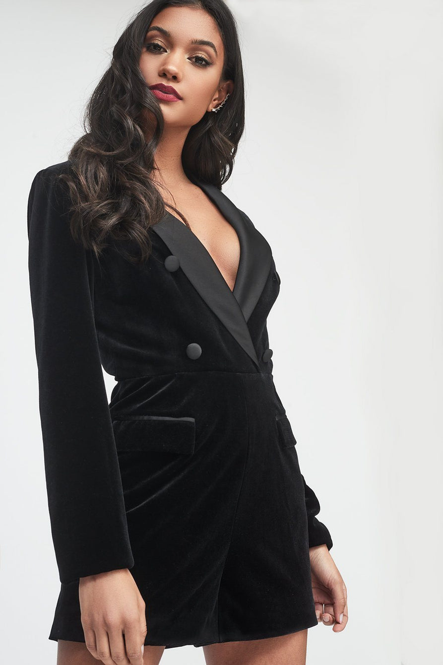Soft Velvet and Satin Mix Tailored Playsuit