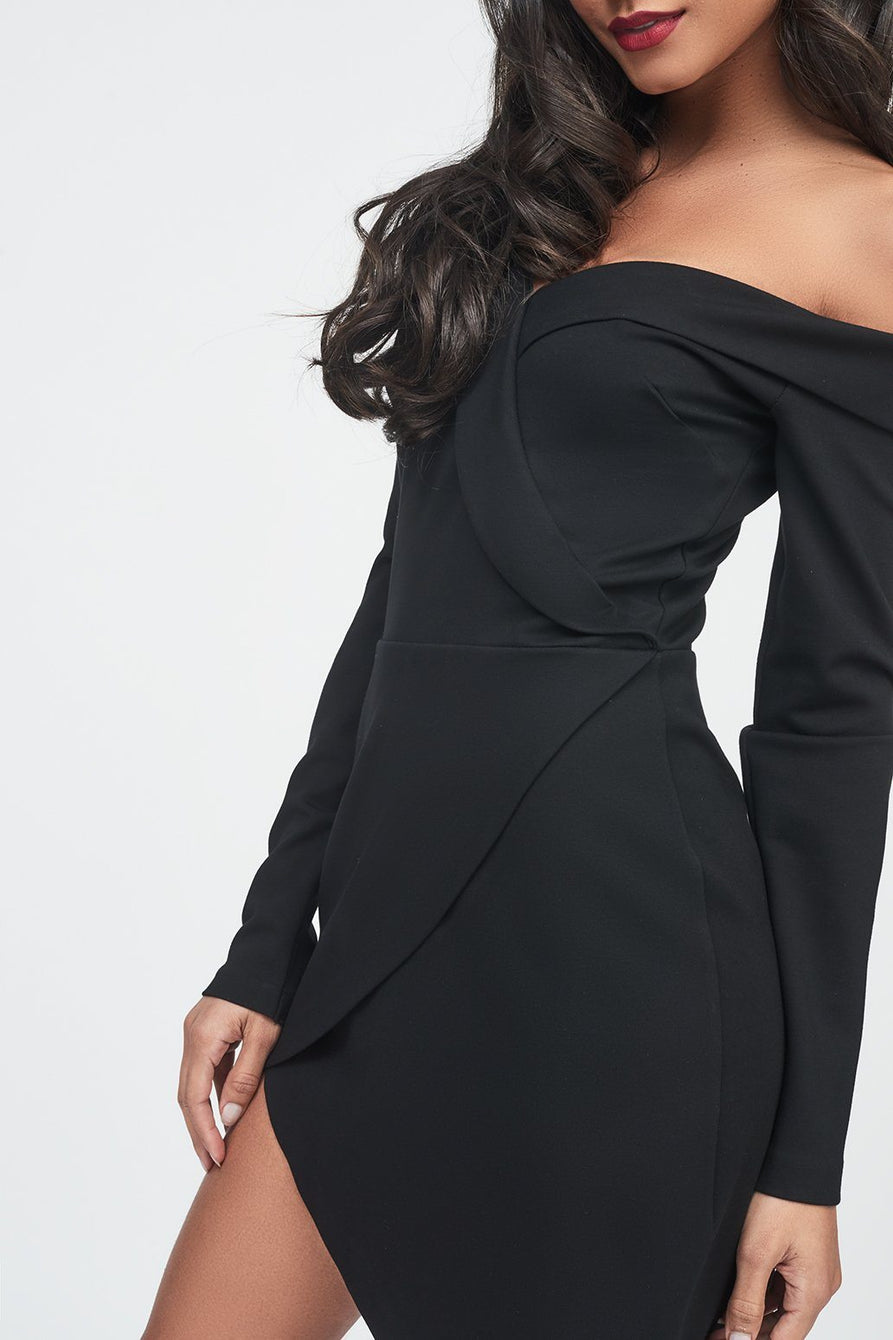 Ponte Off The Shoulder Asymmetric Dress in Black