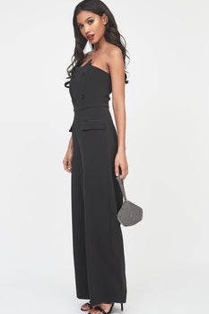 Bandeau Satin Button Wide Leg Jumpsuit in Black