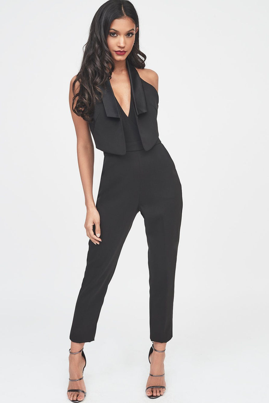 Double Layer Tuxedo Jumpsuit with Satin Lapel in Black