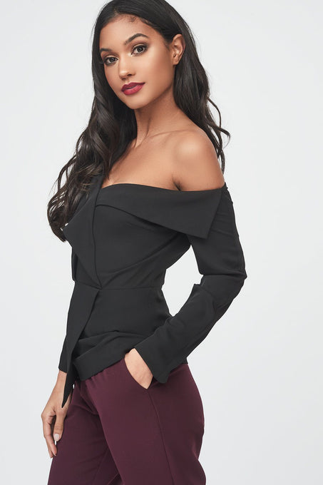 Off The Shoulder Fold Over Lapel Top in Black