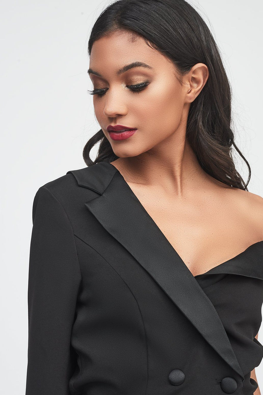 One Shoulder Fitting Tuxedo Jacket with Satin Lapel in Black
