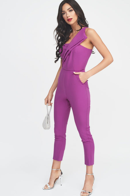 One Shoulder Fold Detail Tapered Jumpsuit
